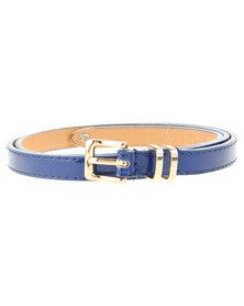Lily & Rose Tip Detail Skinny Belt Blue