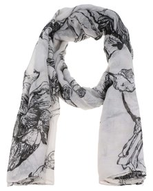 Lily & Rose Shadow Flower Print Scarf White