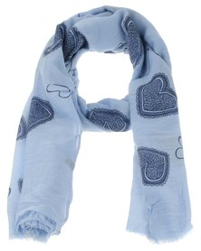 Lily & Rose Heart Flower Print Scarf Blue