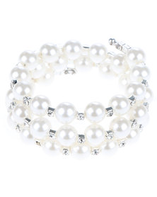 Lily & Rose Three String Pearl Bracelet White