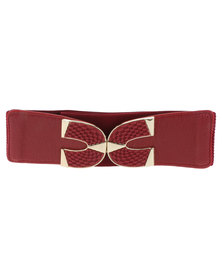 Lily & Rose Clip Fasten Wide Elasticated Waist Belt Red