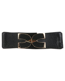 Lily & Rose Clip Fasten Wide Elasticated Waist Belt Black