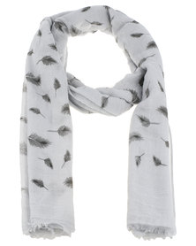 Lily & Rose Feather Print Scarf Grey