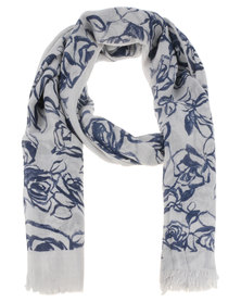 Lily & Rose Outerline Rose Scarf Grey/Blue