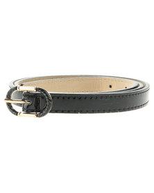 Lily & Rose Cable Link Buckle Skinny Belt Black