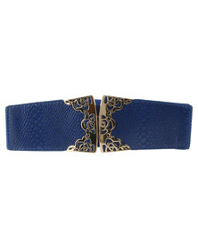 Lily & Rose Snake Filigree Trim Elasticated Waist Belt Blue