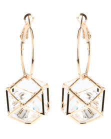 Lily & Rose Geometric Hoop Earrings Gold-Tone