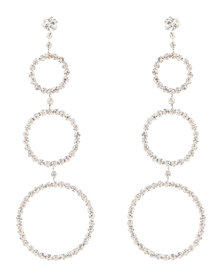 Lily & Rose Loop Diamante Drop Earrings Silver-Tone