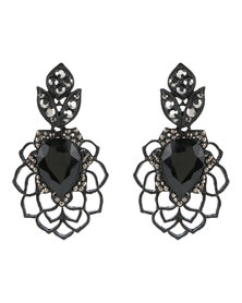 Lily & Rose Cutout Flower Emerald Earrings Black