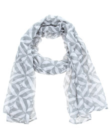 Lily and Rose Two Colour Geometric Scarf Grey