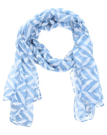 Lily and Rose Two Colour Geometric Scarf Blue