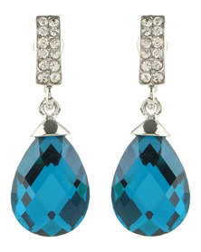 Lily & Rose Ruby Drop Earrings Blue/Silver-Toned