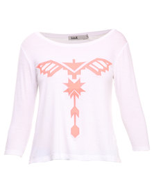 Linx Long Top With Applique White