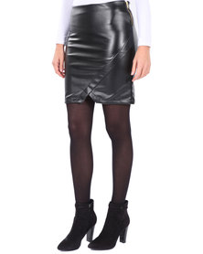 Linx Wrap Mini Skirt Black