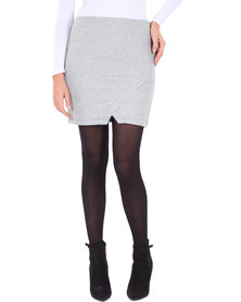 Linx Quilted Wrap Mini Skirt Grey
