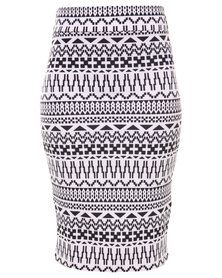Linx Geo Printed Pencil Skirt Black/White