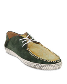 Linx Washed Suede Boat Shoes Green