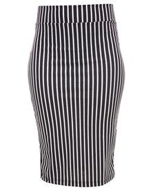 Linx Stripe Ponti Pencil Skirt Black/White