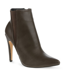 Linx Elastic Heeled Ankle Boots Brown
