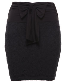 Linx Lace Pencil Skirt Black
