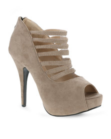 Linx Sexy Multi-Strap Heels Taupe