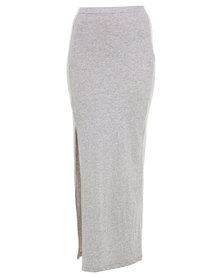 Linx Melange Maxi Skirt With Slit Grey