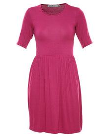 Linx Knit Babydoll Dress Magenta