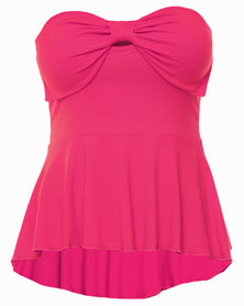 Linx Bow Detail Boob Tube with Peplum Top Pink