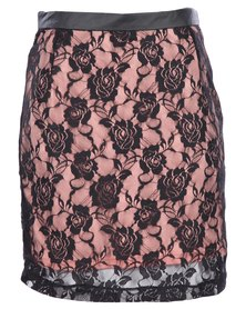 Linx Flower Lace Skirt Pink