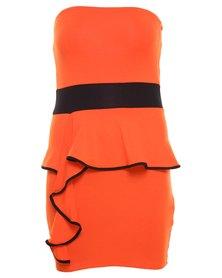 Link Colour Block Ruffle Strapless Dress Orange