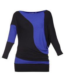Linx Colourblock Tunic Black and Cobalt