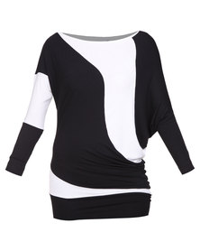 Linx Colourblock Tunic Black and White