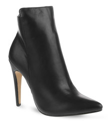 Linx Pointy Stiletto Ankle Boots Black