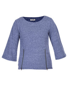 Linx Fleece Top with Zips Blue