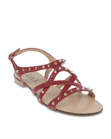 Linx Crossover Studded Sandals Red