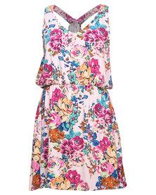 Linx Floral Print Racer Back Dress Multi-Colour