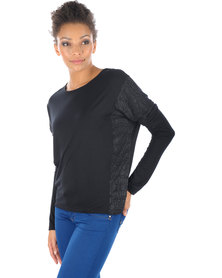 Linx Batwing Panel T-shirt Black