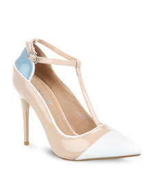 Linx Colour Block Heels Nude