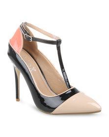 Linx Colour Block Heels Black