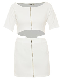 Linx Zip Front Dress White