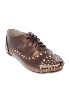 Linx Stud Line Lace Up Shoes Brown