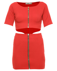 Linx Zip Front Dress Red