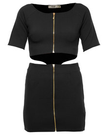 Linx Zip Front Dress Black