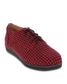 Linx Houndstooth Lace Up Flats Red