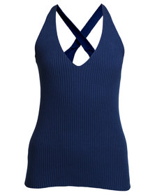 Linx Heron Ribbed Knit Vest Blue