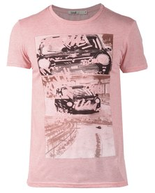 Linx Printed Melange Handmade T-Shirt Light Pink