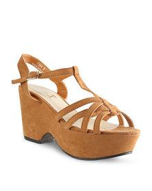 Linx Strappy Fashion Wedge Heels Tan