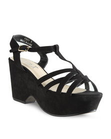 Linx Strappy Fashion Wedge Heels Black