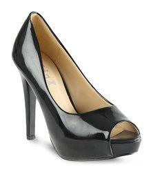 Linx Peep Toe Platform Heels Black