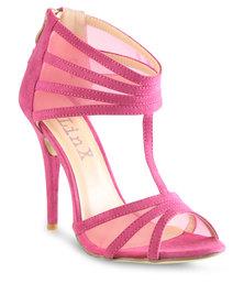 Linx Mesh Panel Heels Pink
